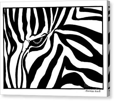 Eye Of The Zebra Canvas Print by Billinda Brandli DeVillez