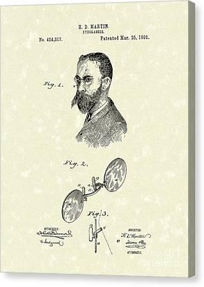 Eyeglasses 1890 Patent Art Canvas Print by Prior Art Design
