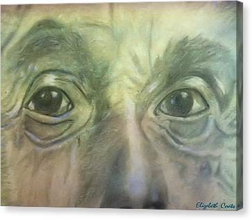 Canvas Print featuring the drawing Eyes Of The Brain by Elizabeth Coats