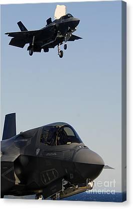 F-35b Lighnting II Variants Land Aboard Canvas Print by Stocktrek Images
