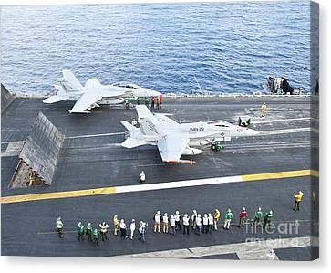 Fa-18 Aircraft Prepare To Take Canvas Print by Stocktrek Images