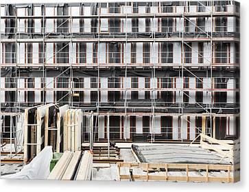 Facade Of Buildings Under Construction Canvas Print