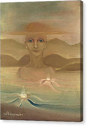 Face From Nature Desert Landscape Abstract Fantasy With Flowers Blue Eyes Yellow Cloud  In Sky  Canvas Print