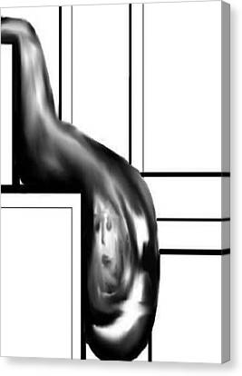 Canvas Print featuring the digital art Face In Water Drop by Angela Stout