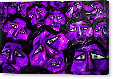 Faces - Purple Canvas Print by Karen Elzinga