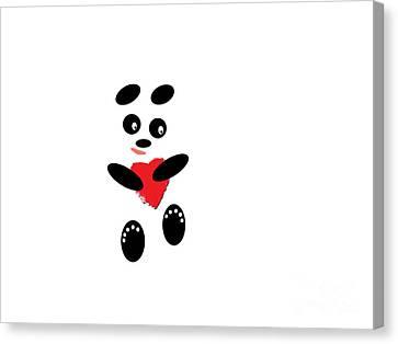 Fading Like A Flower. Panda In Love. #01 Canvas Print by Ausra Huntington nee Paulauskaite