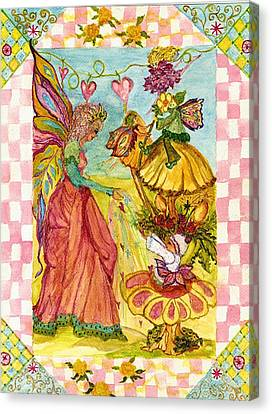 Faeries And Frogs Fantasy Canvas Print by Cheryl Carrabba