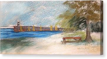 Fairport Harbor Pier Canvas Print by Lisa Urankar