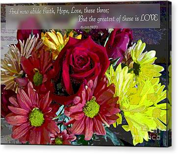 Faith Hope Love II Canvas Print by Debbie Portwood