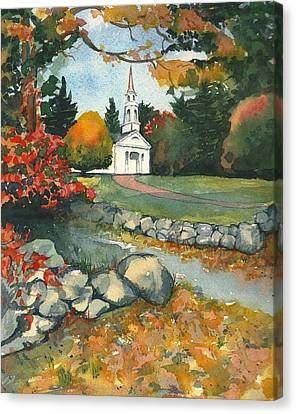 Fall At Martha-mary Chapel - Sudbury Canvas Print by Lynn Babineau