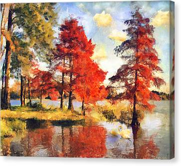 Fall At Swan Lake Canvas Print by Jai Johnson