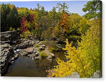 Canvas Print featuring the photograph Fall At The Eau Claire Dells by Judy  Johnson