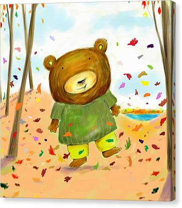 Fall Bear Canvas Print by Scott Nelson