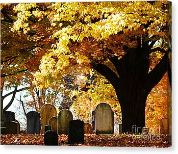 Canvas Print featuring the photograph Fall Cemetery by Jeanne  Woods