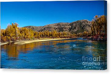 Fall Colors On The Snake River Canvas Print by Robert Bales