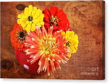 Canvas Print featuring the photograph Fall Flower Arrangement by Verena Matthew