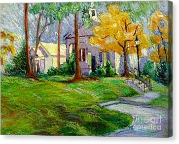Fall Glow On Roswell Church Canvas Print by Gretchen Allen