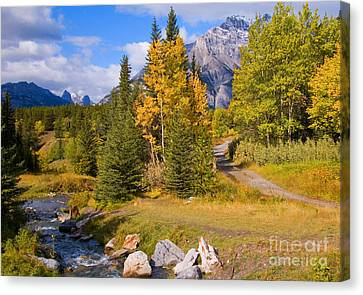 Fall In Banff National Park Canvas Print by Bob and Nancy Kendrick