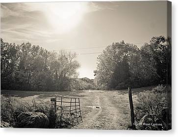 Gatepost Canvas Print - Fall In Black And White by Jerri Moon Cantone