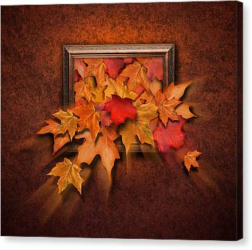 Fall Leaves Coming Out Of Old Antique Frame Canvas Print by Angela Waye