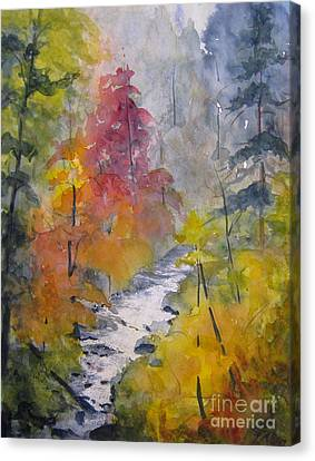 Canvas Print featuring the painting Fall Mountain Stream by Gretchen Allen
