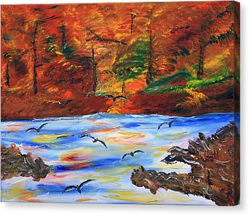 Fall On The Bow River Canvas Print by James Bryron Love