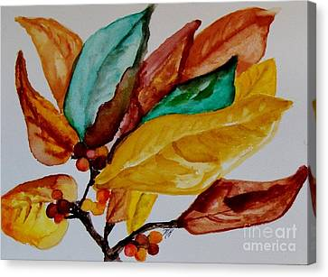Red Green And Gold Abstracts Canvas Print - Fall Painted Leaves And Berries by Marsha Heiken
