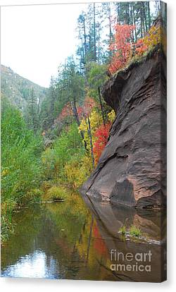 Fall Peeks From Behind The Rocks Canvas Print