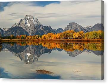 Fall Reflection At Oxbow Bend Canvas Print by Hegde Photos