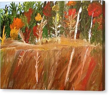 Fall Reflection On Lake Canvas Print by Paula Brown