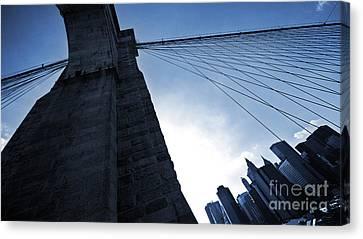 Falling Lines - Brooklyn Bridge Canvas Print by Thomas Splietker