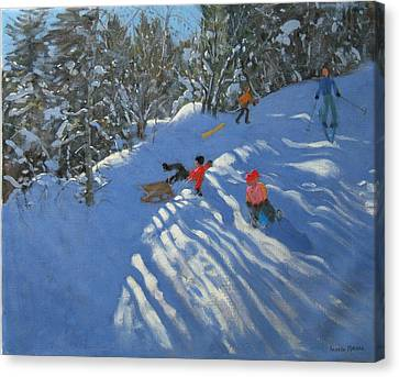 Falling Off The Sledge Canvas Print by Andrew Macara