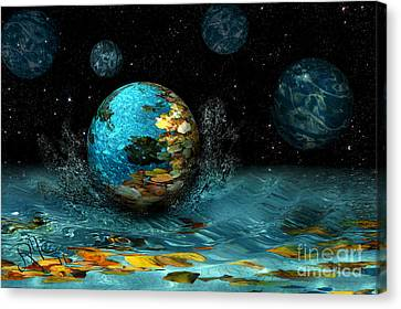 Canvas Print featuring the digital art Falling Stars by Rosa Cobos