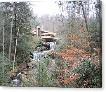 Canvas Print featuring the painting Falling Waters Through The Trees by James Guentner