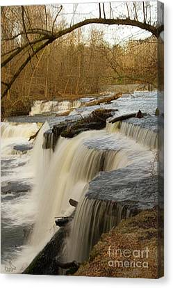 Falls At Old Stone Fort Canvas Print by Michael Flood