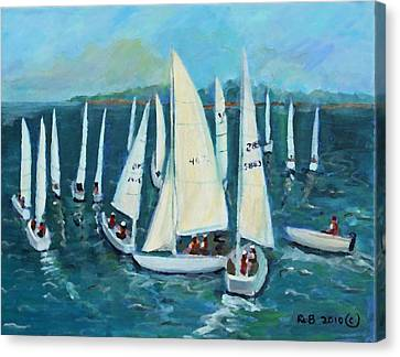 Canvas Print featuring the painting Falmouth Regatta by Rita Brown