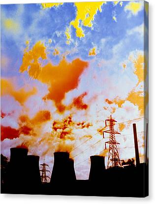 False Power Canvas Print - False-colour Photograph Of Ferrybridge. by Dr Jeremy Burgess