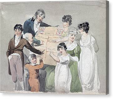 Family Group - Smith, His Wife And Six Canvas Print by Everett
