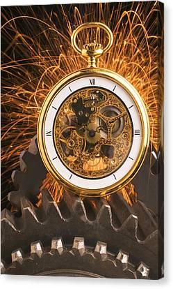 Fancy Pocketwatch On Gears Canvas Print by Garry Gay
