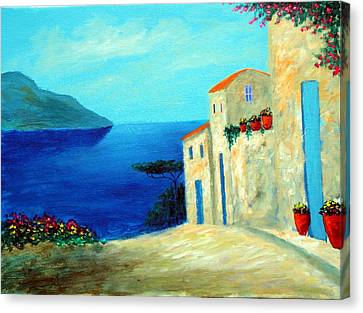 Canvas Print featuring the painting Fantisy By The Sea by Larry Cirigliano