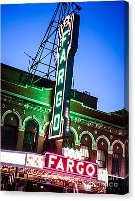Fargo Nd Theatre Marquee At Night Photo Canvas Print by Paul Velgos