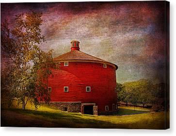 Farm - Barn - Red Round Barn  Canvas Print by Mike Savad