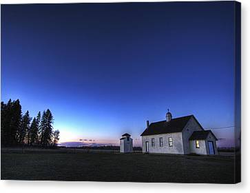 Farm House In Field At Sunset, Fort Canvas Print by Dan Jurak