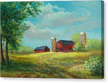 Red Barns Canvas Print by Luczay