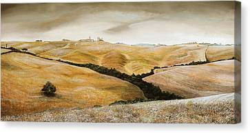 Farm On Hill - Tuscany Canvas Print by Trevor Neal