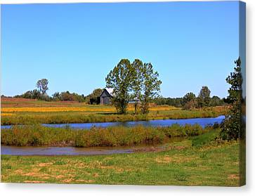 Farm Pond And Barn Canvas Print