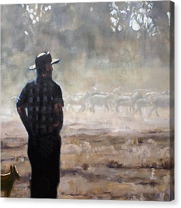 Farmer And Sheep Canvas Print by Gaye White
