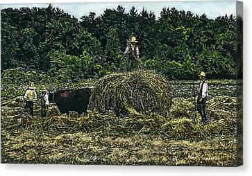 Farmers Haying Canvas Print by Robert Goudreau