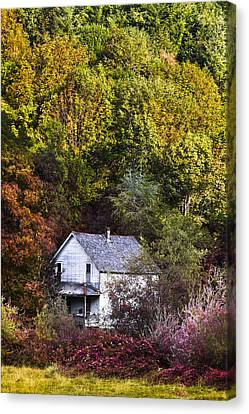 Farmhouse In Fall Canvas Print by Debra and Dave Vanderlaan