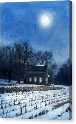 Farmhouse Under Full Moon In Winter Canvas Print by Jill Battaglia
